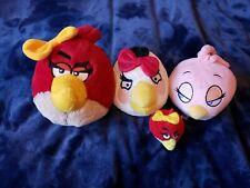 Angry Birds Girls Plush Lot of 4 Stella Pink Matilda White Girl Red Bird Pencil