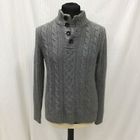 Next Size M Medium Mens Grey Knitted Jumper With Buttons Mens