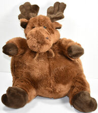Unipak CHUBBY FAT BROWN SITTING MOOSE w/ Beard Stuffed Animal PLUSH SOFT TOY