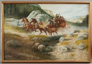 Large T. MILLER American Western Cowboy Stagecoach Illustration Oil Painting NR