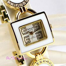 Swiss OMAX Ladies Waterproof Seiko Crystal Gold Pltd White Bracelet G Watch O004