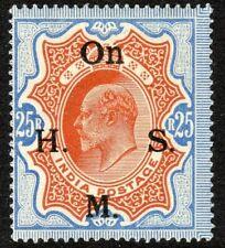 India1902 OHSM brownish-orange/blue 25r  watermark star perf 14 mint SGO72