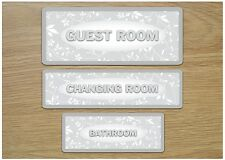 ROOM Silver Leaf Shabby Chic Metal Door Sign Bathroom Toilet Kitchen + OWN TEXT