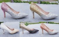 New Ladies Glitter Ombre Low Kitten Heel Pointed Court Shoes Size 3-8