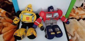 2006 Hasbro Transformers Bumblebee Slumblebee plush & Optimus Prime Softimus