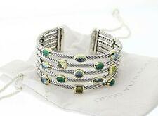 DAVID YURMAN Sterling & 14k Chalcedony Topaz and Peridot Confetti Cuff Bracelet