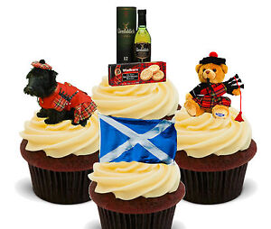 Scotland Fun Pack, Edible Cupcake Toppers, Fairy Cake, Scottish Flag Burns Night