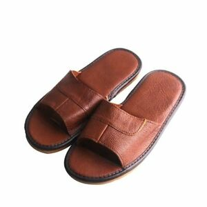 Mens Leather Slippers Shoes Sandals Casual Slides Classic Home Indoor Footwear