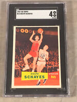 1957-58 TOPPS #13 DOLPH SCHAYES SGC VG-EX 4 HOF RC ROOKIE CARD