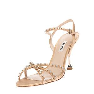 RRP €760 MIU MIU Slingback Sandals EU 38 UK 5 US 8 Rhinestones Made in Italy