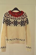 Vintage Fairisle Patterned Cream Knit Winter Sweater Jumper