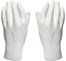 Mn-HandsM Pair Of White Left & Right Male Mannequin Hand Display (White Only)