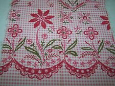 PC VINTAGE COTTON FABRIC-PINK GINGHAM WITH FLORAL PRINT-CRAFT-ART