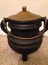Vintage Cast Iron Fire Starter Pot with Brass Lid and handle, and Bail handles