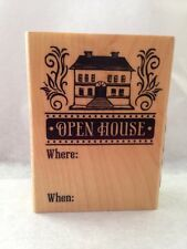 Inkadinkado OPEN HOUSE realtor new home  invitation wood Rubber Stamp NO INK