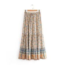 Boho Maxi Skirt Size 12 14 L Long Floral Gypsy Ethic Hippie Bohemian Modest Fall