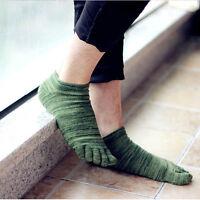 Men's Retro Five Fingers Toe Socks Comfortable Mixed-Color Cotton Boat Socks  PQ