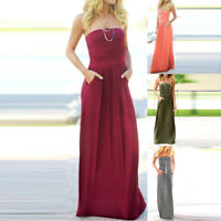 Women Summer Strapless Lace Sleeveless Party Maxi Casual Long Dress With Pocket