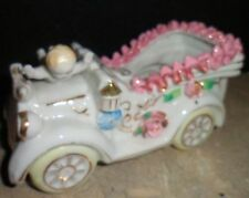 Vintage Collectible Roadster Car Baby Floral Planter Porcelain Pink Lace Japan