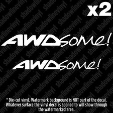 "AWD ""AWDSOME!"" Vinyl Decal Stickers JDM Euro Subaru Rally A4 All Fours WRX Evo"