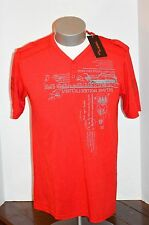 VERTICAL Mens Large Sport Shirt Reverse Print Logo in Red w/ metal accents NWT