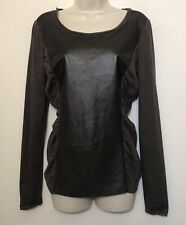 Lafayette 148 Medium Top Brown Long Sleeve Ruched Sides Wool & Leather