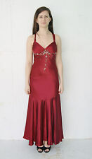 Gorgeous Red Beaded Backless Formal Gown Prom Dress by Dave & Johnny Size 8