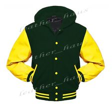Faux Leather Sleeve Letterman College Varsity Wool Jackets Hoodie YS-YS-YB-H