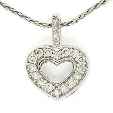 14k ORO BLANCO 0.75ctw Diamante Brillante Redondo 40.6cm ABIERTO Collar con