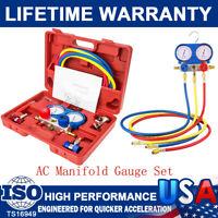 HVAC Automotive 4 Way A/C Manifold Gauge Sets Refrigeration Kits AC R134A R410A