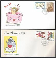 IRELAND 1980's LOVE STAMPS 7 FDC's INCLUDES CHRISTMAS