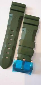 """Kautschuk Armband für """"Panerai"""" in grün mit 26mm Schließe"""