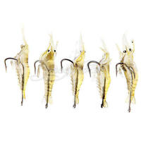 5x Shrimp Fishing Simulation Soft Prawn Lure Hook Tackle Bait Sea Fishing Lures