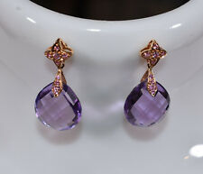 Amethyst & Light Pink Sapphire Dangle Earrings 18K Rose Gold