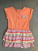 M&S ORANGE DRESS WITH PATTERNED FRILL SKIRT IN 2 LAYERS & FLOWERS ON TOP - NEW