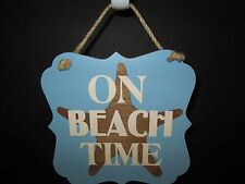 """""""On Beach Time"""" Decorative Plaque, 7 1/2"""", Coastal Collection, New"""