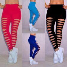Sexy Damen stretch Leggings Leggins Hose DESTROYED mit Schlitze vorne