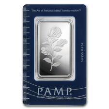 Lingot Suisse PAMP 1 Once d'argent pur / ROSA 1 Troy Ounce Oz Fine Silver Bar