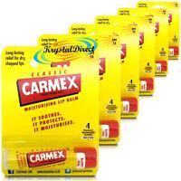 6x Carmex Classic Original Click Stick Ultra Moisturising Dry & Chapped Lip Balm