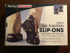 PERFECT SOLUTIONS ICE TRACTION MEN'S SLIP-ONS  FITS SHOE SIZES 8-12 NEW IN BOX