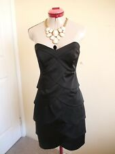 REVIEW Classic Black LBD DRESS Size 10 Strapless Cocktail Evening Party Dinner