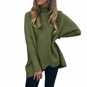 Women Tops Knit High Neck Sweater Pullover Turtleneck Jumper Loose Casual Winter