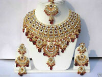 Schmuckset Indien Bollywood Jodha Akbar Stil Vergoldet Rot Neu