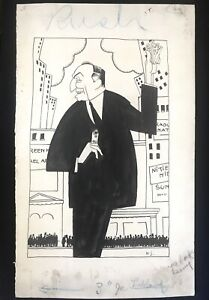 Original 20s Signed Drawing Illustration Hans Stengel New Yorker A. J. Liebling