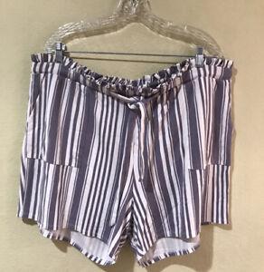 Torrid Women Stripe Tie Front Paperbag Shorts Plus Sz 2 Ivory Gray Stretch