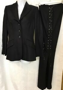 Escada Pants Suit Black Leather Lace Up Design Long Leg Slit  Size 36 US 6