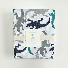 new Pottery Barn Kids Gecko Sheet Set Full Green Grey Navy