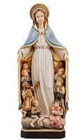 Statue Madonna de La Protection CM 21 Sculpté en Bois de La à Val Gardena