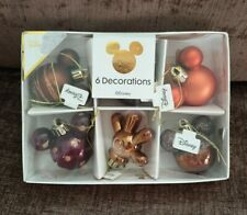 Set Of 6 Mickey Mouse Mini Baubles Disney Bauble Christmas Tree Decorations
