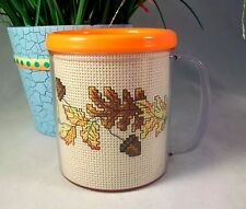 Finished Completed Cross Stitch Mug Cup FALL LEAVES